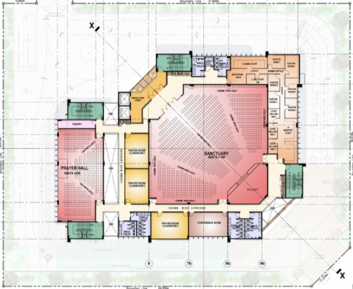 Church Floor Plan and Interiors